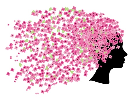 sakura flowers: vector head silhouette