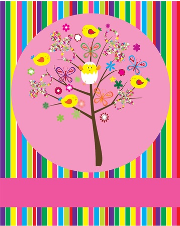 cute baby girls: vector baby shower tree
