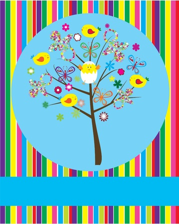 vector baby shower tree Stock Vector - 10307548