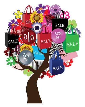bar codes: sale tree with bar codes, bags and flowers