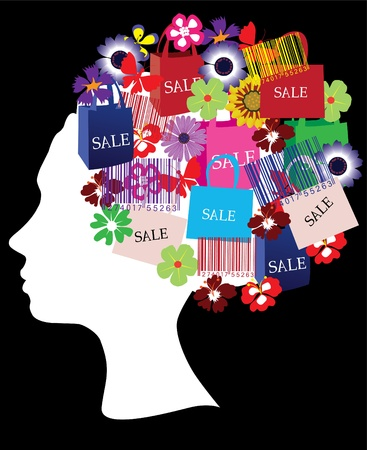 cut off head: head silhouette with shopping icons Illustration