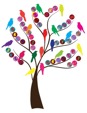 variety: alphabet tree with birds Illustration
