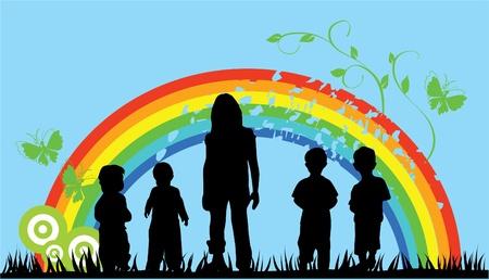 rainbow: children and rainbow