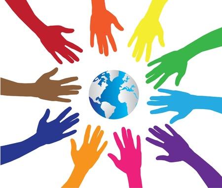 madre tierra: manos y el planeta tierra Vectores