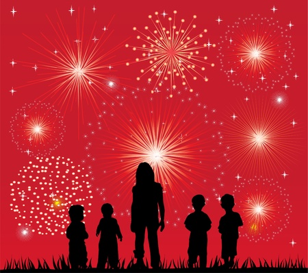 children silhouettes: fireworks and children silhouettes