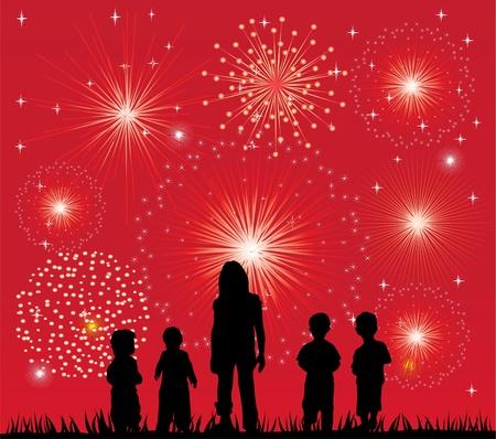 vuurwerk en kinderen silhouetten Stock Illustratie