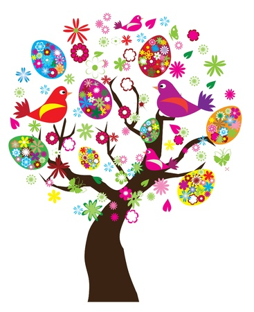 springtime: easter tree Illustration