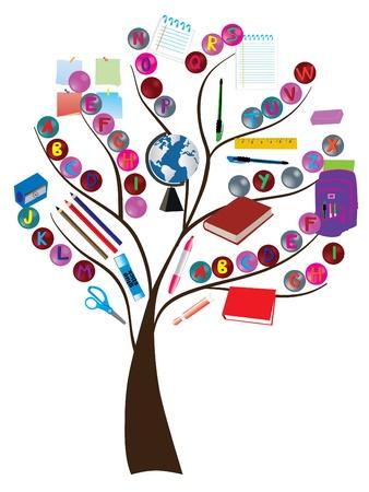 utiles escolares:  �rbol de la escuela Vectores