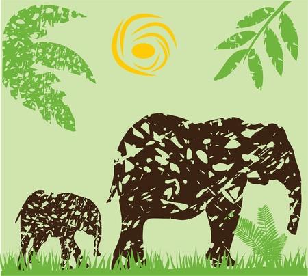 art painting:  grunge elephants