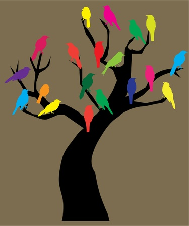 tree with birds Ilustrace