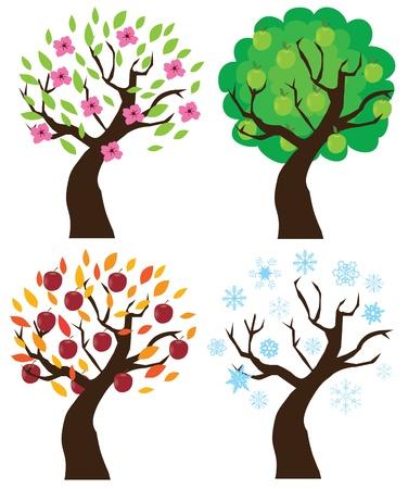abstract design elements: apple trees Illustration