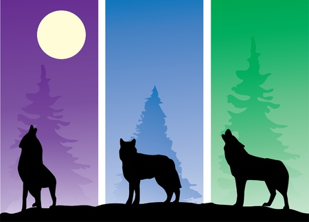 wolves silhouettes Vector