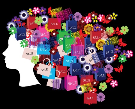 head silhouette with shopping icons 免版税图像 - 10637876