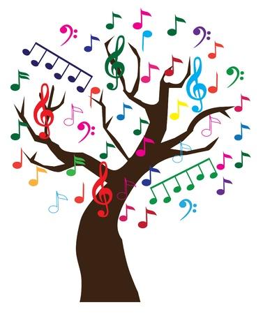 iconos de música: vector �rbol de la m�sica Vectores