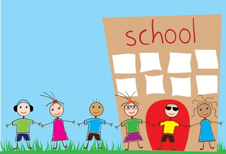 black hair blue eyes: vector funny children and school Illustration