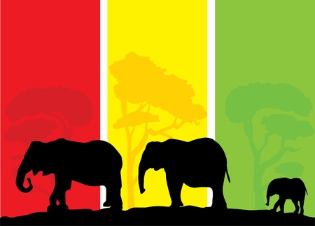 yellow african: vector african elephants