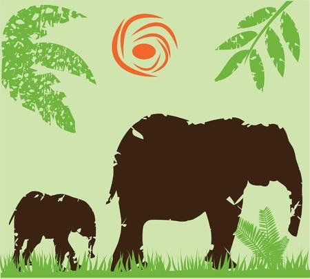 vector grunge elephants