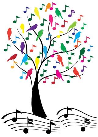 nota musical: árbol de vectores con notas musicales y las aves Vectores