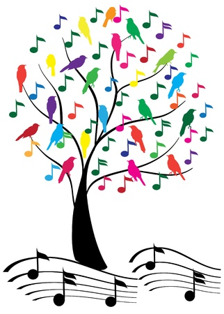 sings: vector tree with musical notes and birds