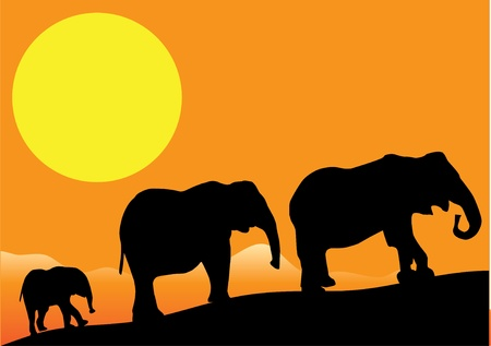 art painting: vector elephants