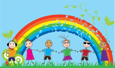 funny people and rainbow Vector