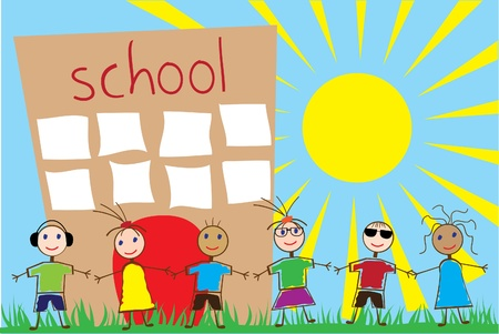 school icon: funny children and school Illustration