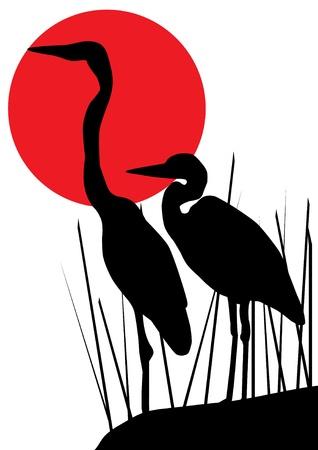 heron silhouettes  イラスト・ベクター素材