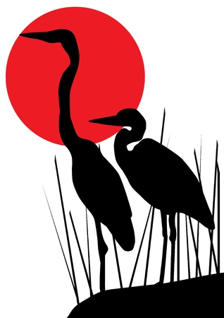 heron: heron silhouettes Illustration