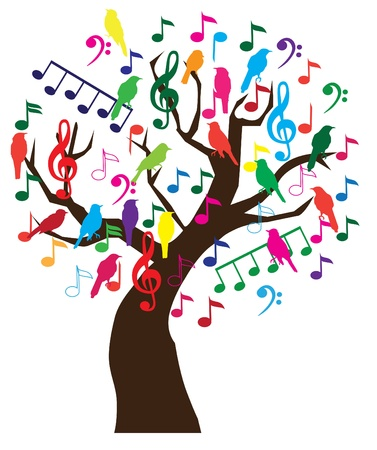 notes music: tree with musical notes and birds