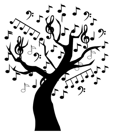musical note:  music tree Illustration