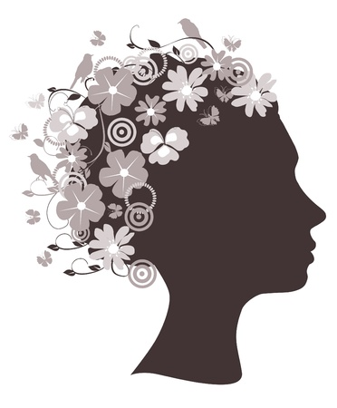 lady bird:  floral head Illustration