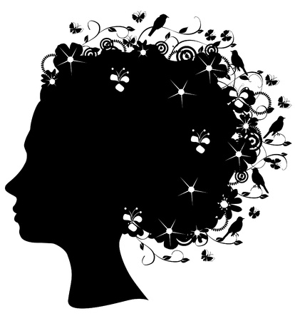 woman profile: floral head silhouette Illustration