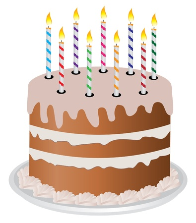 vector cake with candles Illustration