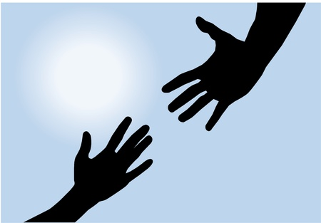 children silhouettes: vector helping hands