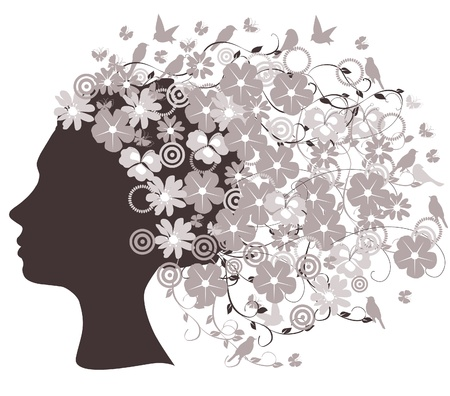 lady bird: vector head silhouette with flowers