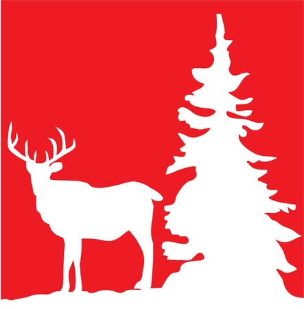vector deer card