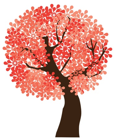 ベクターの花の木  イラスト・ベクター素材