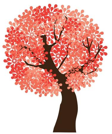 vector floral tree Vectores