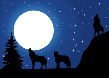 Wolves howling at the moon Ilustracja