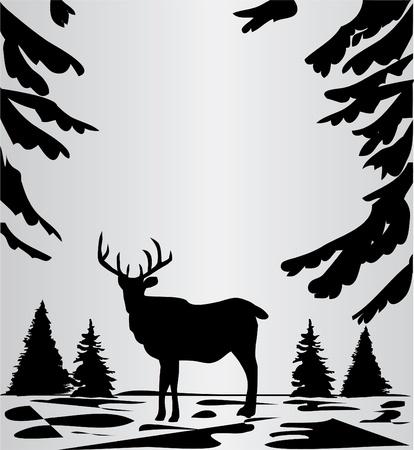 숲에서 사슴 일러스트