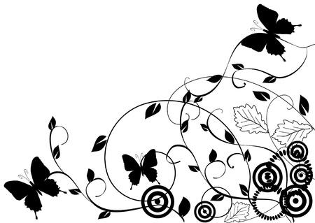 蝶と花の背景  イラスト・ベクター素材
