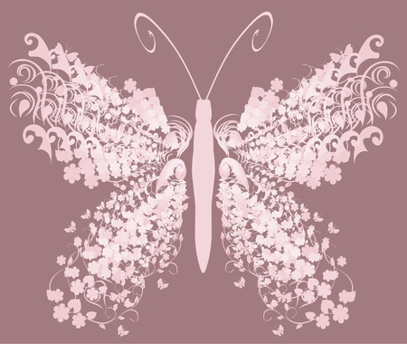 pink vintage butterfly Vector