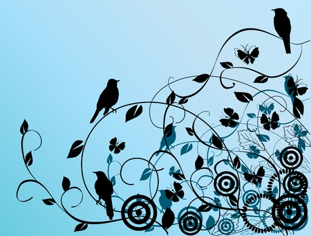 vector floral background with birds Vector