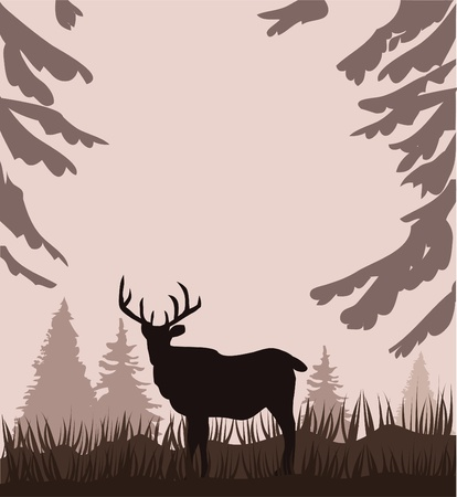 vector deer in the woods Stock Vector - 11431529