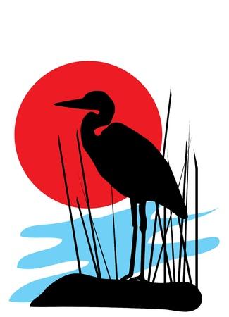 vector heron silhouette Vector