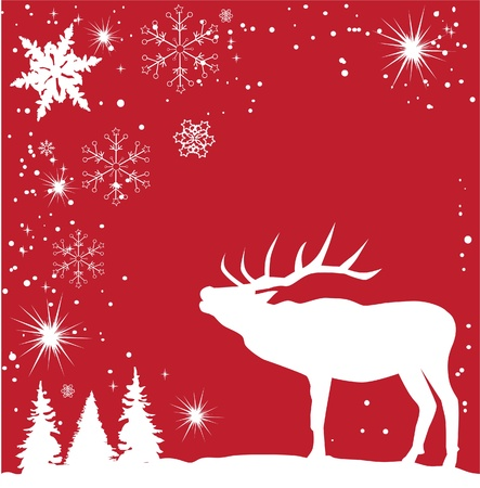 vector reindeer and snowflake background Vector