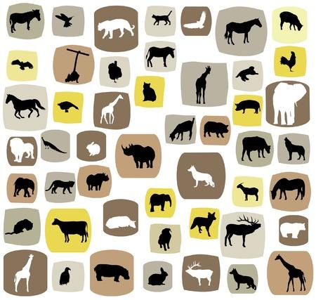 動物のシルエットをベクターします。