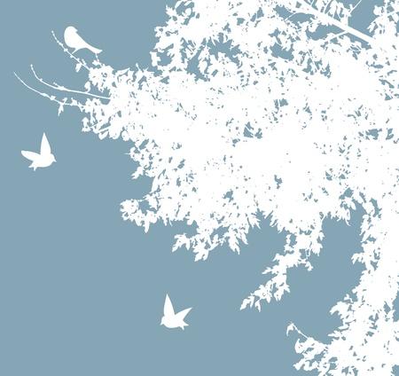 白い鳥と木をベクトルします。