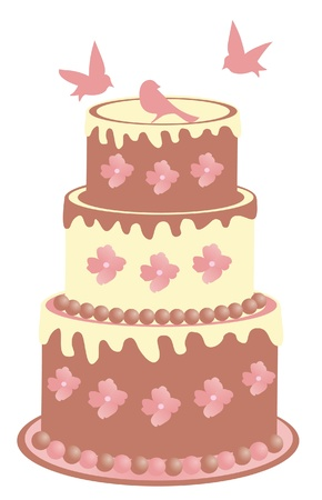 layers: vector cake with birds