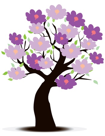 season: Vector floral tree Illustration